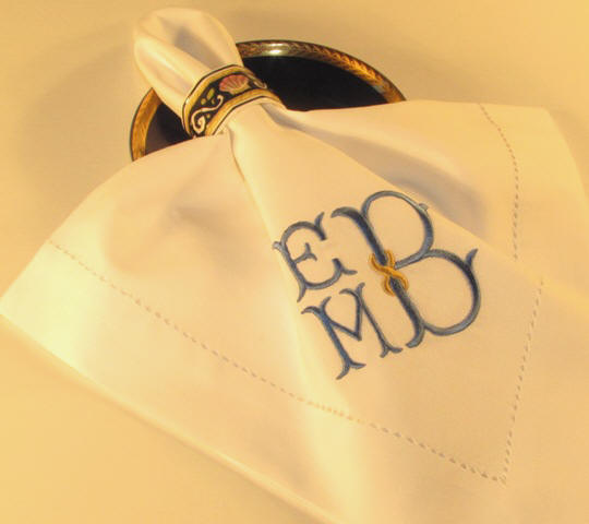 monogram napkins-monogrammed linen napkins-weston monogrammed napkins