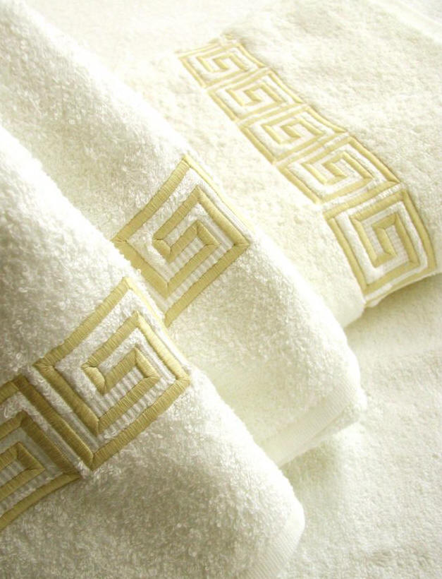 Greek Key Luxury Bath Towel Embroidered Bath Towels