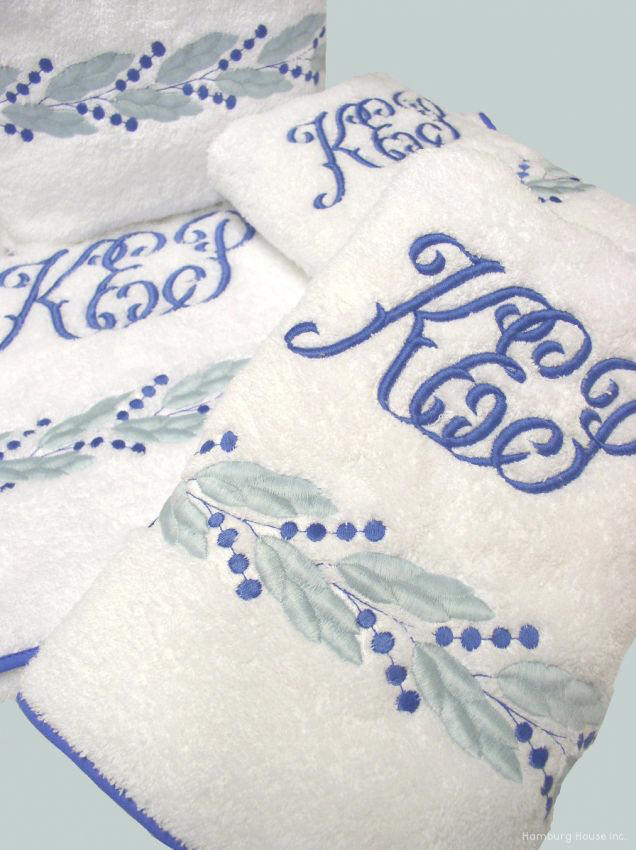 Embroidered Leaf Bath Towels Monogram Embroidered Bath Towels