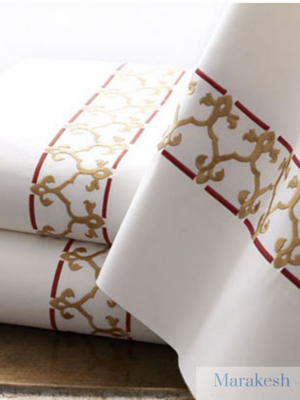 Marakesh custom embroidered sheet sets and duvet covers on luxurious Egyptian cotton.