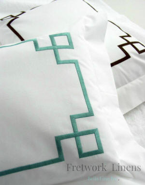 Fretwork embroidered luxury bed linens-Easy Care-Duvet Covers, Bed Shams, Sheet Sets, Pique Coverlets