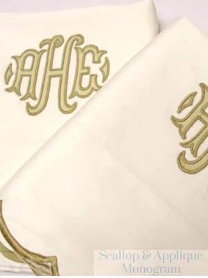 Luxurious long staple Egyptian cotton sheet sets with a scalloped edge and finished with a meticulously crafte applique monogram.