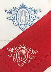 Lily monogrammed napkins, placemats and table linens.