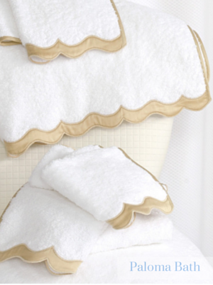 Luxurious fine Egyptian cotton terry towels finished with a meticulously crafted applique border and applique monogram.