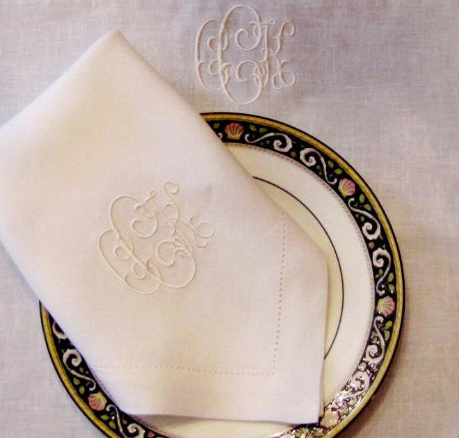 Charming Pascal Signature Monogrammed Table Linens ...