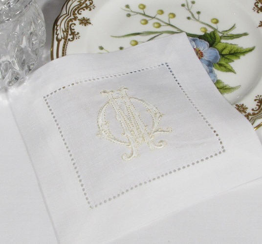 monogrammed cocktail napkins-monogrammed table linens