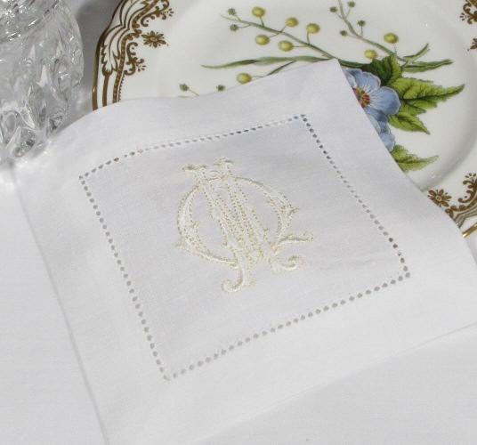 Francesca Monogrammed Coctail Napkins. SIGNATURE HEMSTITCH MONOGRAM  COCKTAIL NAPKINS, Hemstitch Table Linens