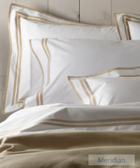 Meridian applique borders on duvet covers, sheets and pillow shams