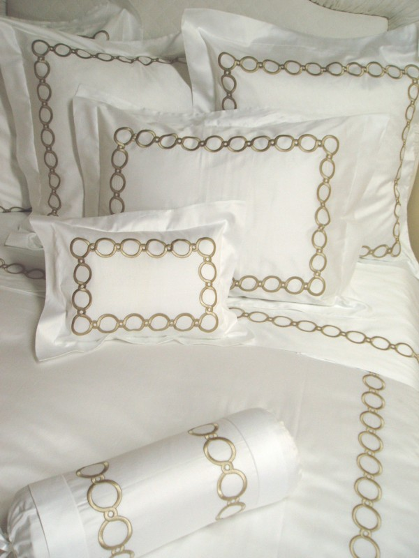 Circle Link Custom Embroidered Bedding Couture Embroidered