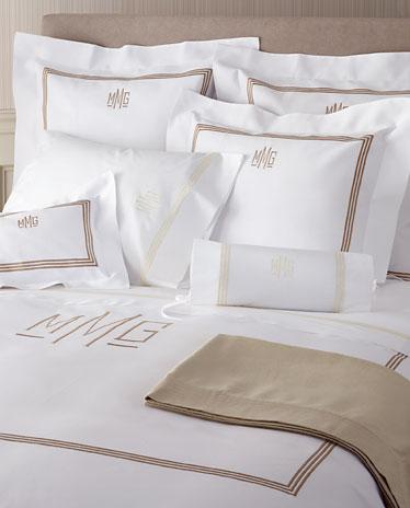 monogram bed linens 3 line embroiderey monogram. Black Bedroom Furniture Sets. Home Design Ideas