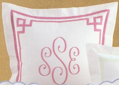 Fretwork Applique Pique Coverlet With Monogram
