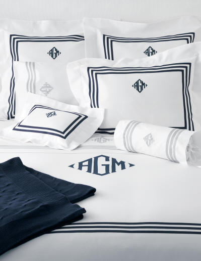Newport Coverlets, Shams & Sheets with Applique Monogram