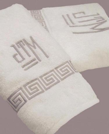 Greek Key Embroidered Bath Towels Monogram Bath Towels