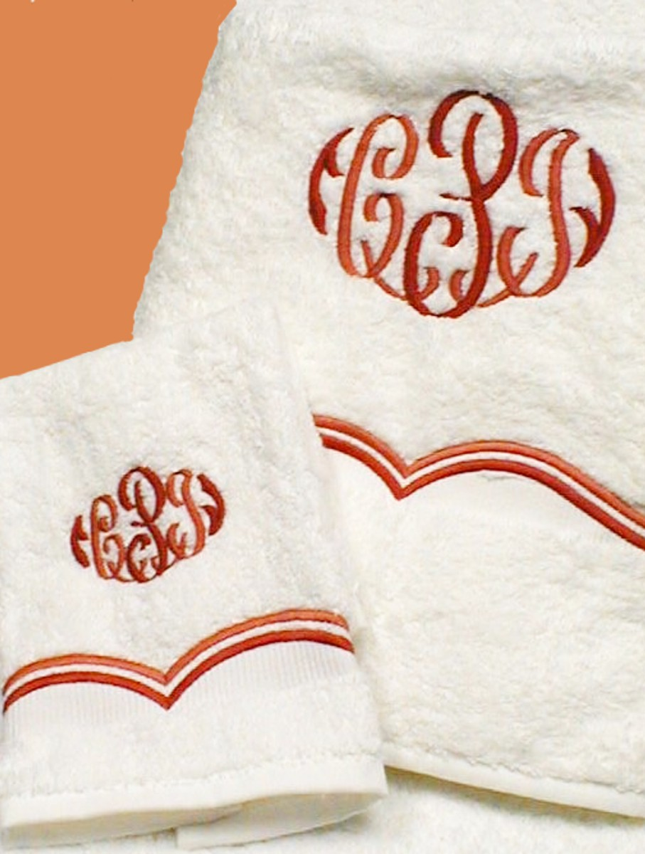 Scroll Embroidered Monogram Bath Towels Luxury Embroidered
