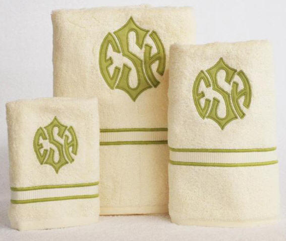 Applique Monogrammed Luxury Bath Towels