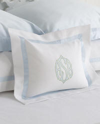 Custom diamond pique coverlets and shams with applique monogram!