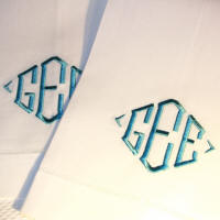 Monogrammed Linen Guest Towels custom embroidered.