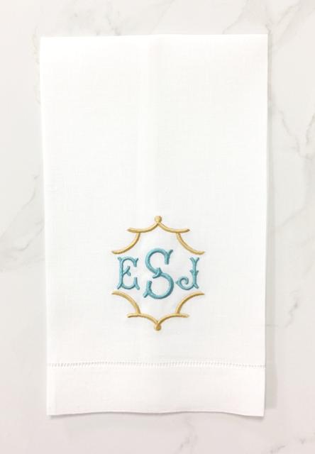 pavillion monogrammed linen guest towel
