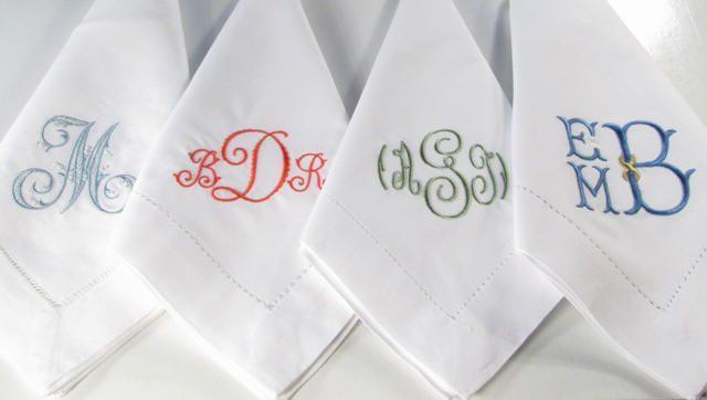 White Cotton Hemstitch Napkins With A Delicate Hemstitch Border. Choose  Your Monogram And Your Thread