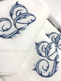 Gigi Signature Monogrammed Napkins, Placemats and Guest Towels