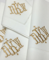 Signature Isabelle Monogrammed Napkins and Guest Towels from Bella Lino Custom Linens!