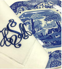Signature Monogrammed Napkins, Placemats, Cocktail Napkins and Guest Towels. Shown is 'Kate'.