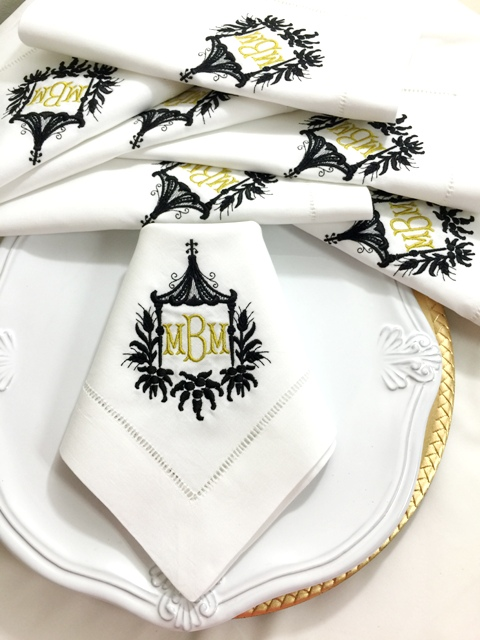 Lovely Signature Pagoda Monogrammed Table Linens ...
