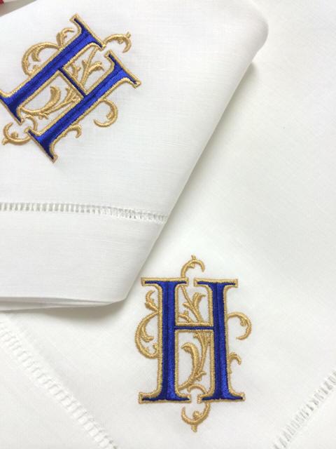 signature hemstitch monogrammed table linens