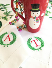 Holiday Laurel Wreath Monogrammed Napkins