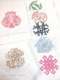 Vintage monogram embroidered on napkins, cocktail napkins, guest towels and more.