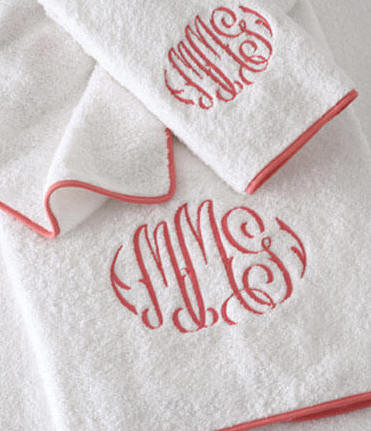 Monogrammed Bath Towels-Custom Piped Egyptian Cotton Bath Towels with Custom Monogramming
