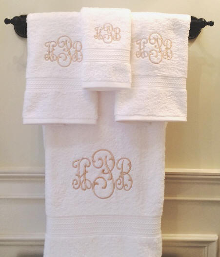Monogram Towels For Bathroom: Monogrammed Bath Towel Sets-Signature Monogram Towels